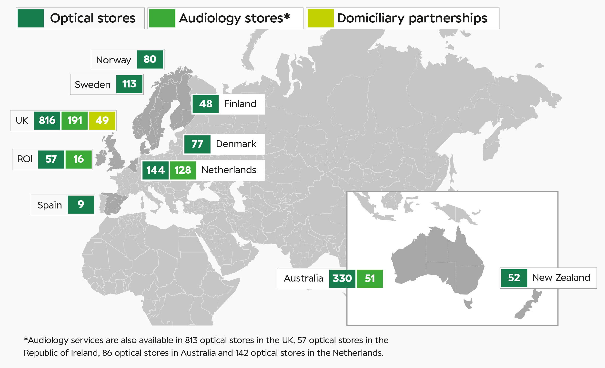 Map of global Specsavers stores
